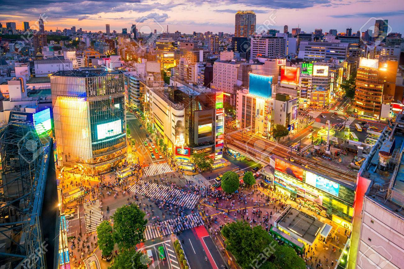 82602790 shibuya crossing from top view at twilight in tokyo japan